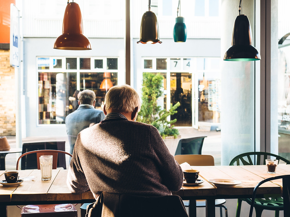 unretired remote worker at coffee shop