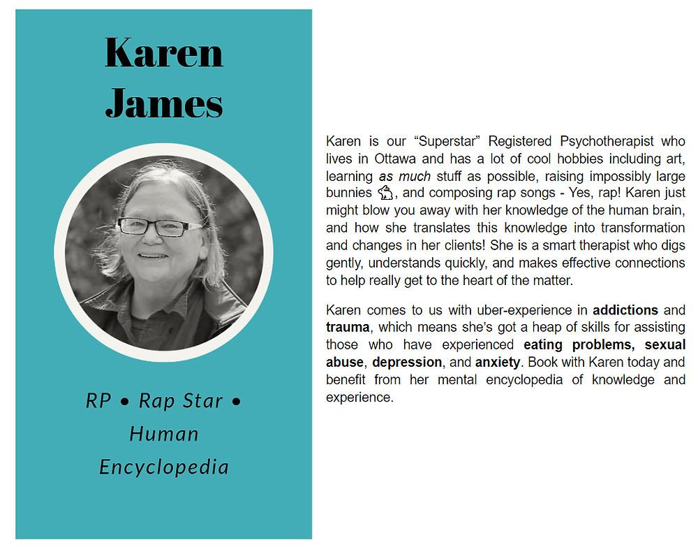 Karen James bio on Limestone Clinic