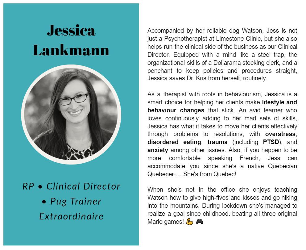 Jessica Lankmann bio on Limestone Clinic