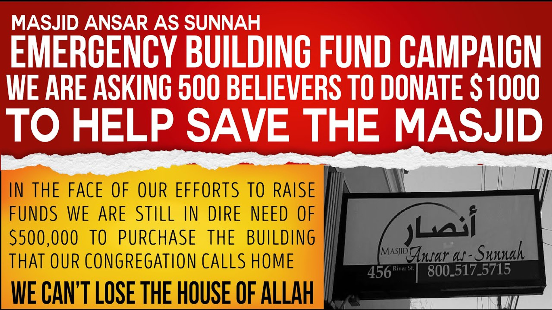 Masjid Ansar As Sunnah Emergency Building Fund Campaign