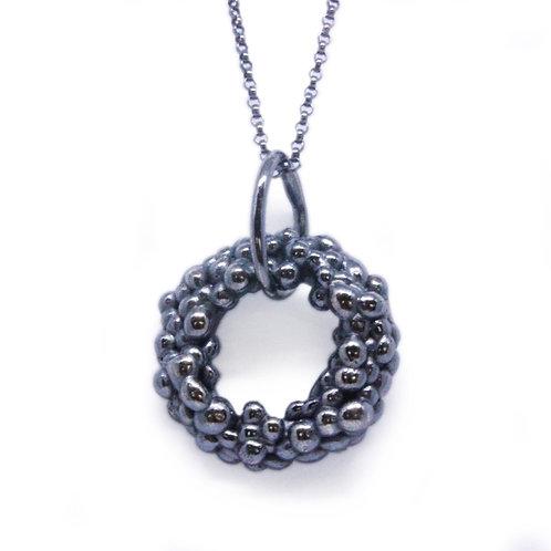 Oxidised Granulated Circle Pendant