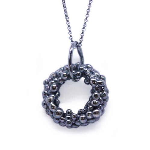Oxidised Granulated Circle Pendant