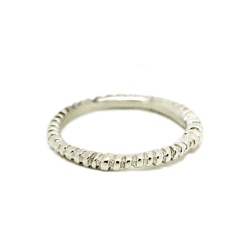 9ct White Gold Fossil Ring