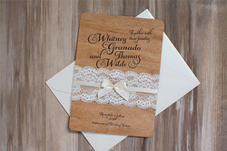 Real Wood Invitation with Lace