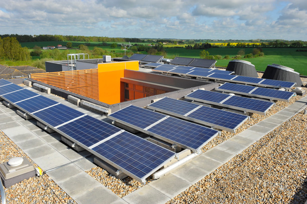 Solar panels on roof, Ongar, Essex