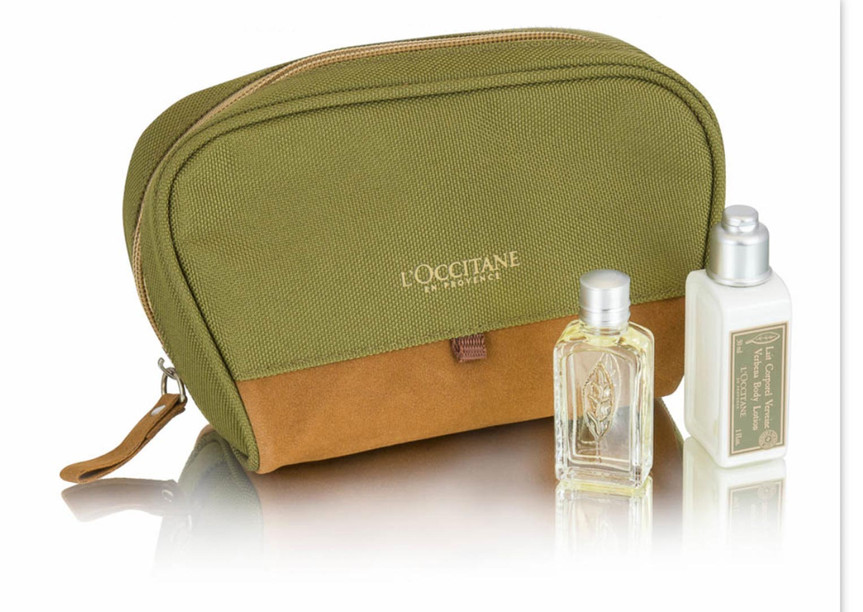 Airline amenity bag for L'Occitane