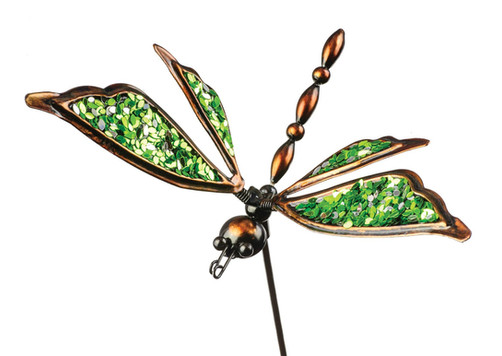 Green dragonfly garden stake