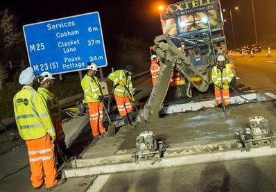 M25 motorway resurfacing
