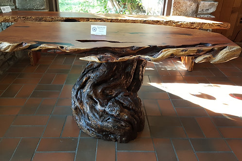 Mesquite Burl Coffee Table, Burl Top with Braided Base