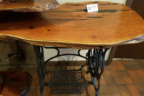 Mesquite Burl Table with Antique Sewing Machine Base