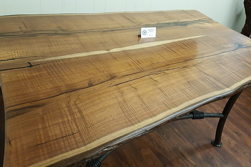 Texas Black Walnut Table with Live Edge and Custom Iron Base