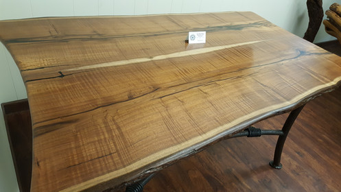 Sensational Texas Black Walnut Table With Live Edge And Custom Iron Base Download Free Architecture Designs Sospemadebymaigaardcom
