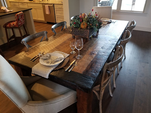 Tobacco Barn Dining Table with Hand Hewn Legs