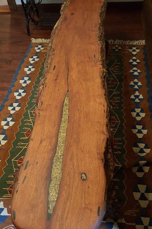 Mesquite Bench with Brass Inlay