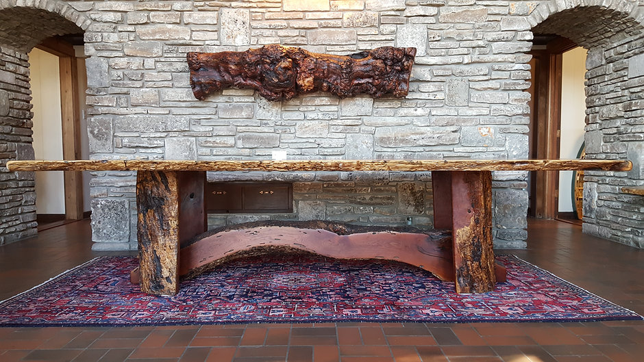 Mesquite Transom Table and Mesquite Burl Mantel, Texas Grown Wood Kerrville, TX