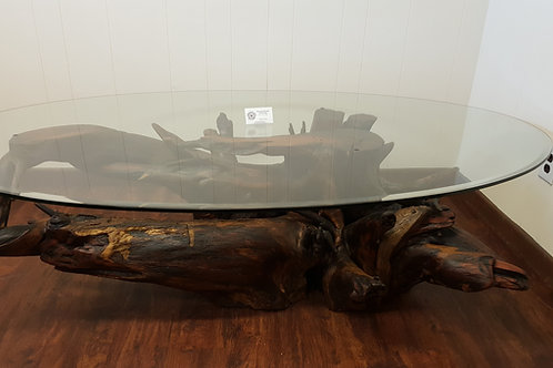 Mesquite Root Ball Glasstop Coffee Table, Oval