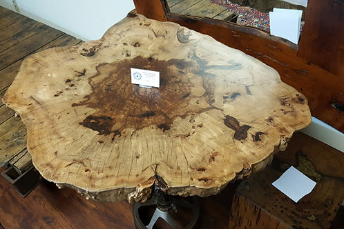 Hickory Cross Section Table, Antique Tractor Base
