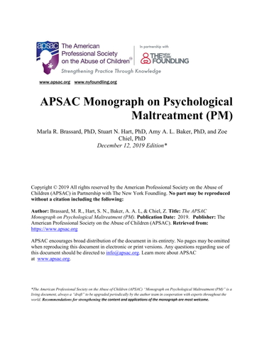 Now Available: The APSAC Monograph on Psychological Maltreatment