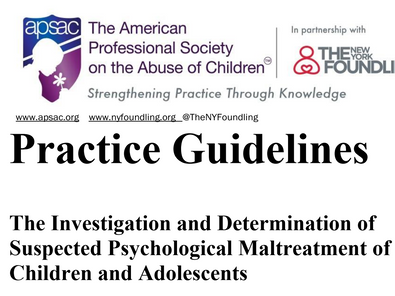 APSAC ANNOUNCES REVISIONS TO ITS DEFINITIONS OF PSYCHOLOGICAL MALTREATMENT