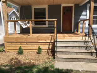 Douglas Fir/Cedar Porch w/ Cable Railing