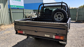 Top Coated 79 Toyota Land Cruiser ute tray and tool boxes. Colour - Gunbarrel Shadow.