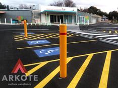 Bollards powdered by #Arkote using #Tuffkote coating system.
