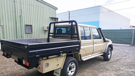 Top coated 79 Toyota Land Cruiser ute tray and tool boxes. Ute Tray Colour - Shadow. Tool boxes Colour - Sandy Taupe.