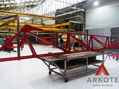 Take a look at an excellent result of powder coating a very large 🚜Crop Sprayer boom with a #Tuffkote by #Arkote coating system 👌.