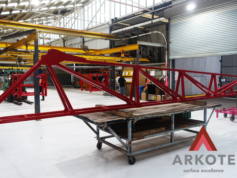 Crop Sprayer boom coated with a #Tuffkote by #Arkote coating system.