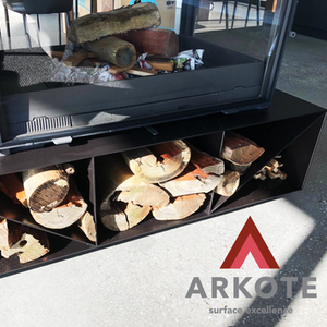 Fireplace stand coated with a #Refractakote Heat resistance powder coating.
