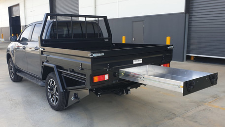 Heavy-duty steel tray, toolboxes & sealed trundle draw top coated with Shingleback Coating System. Coating Colour - Midnight Black.