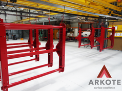 Take a look at an excellent result of powder coating of these large suspension hangers with a #Tuffkote by #Arkote coating system 👌.