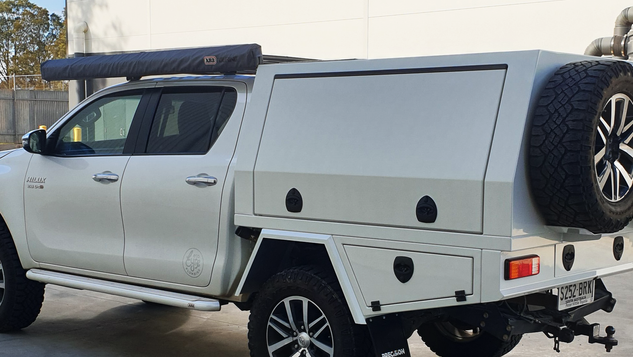 Toyota Hilux Canopy Top Coated with a premium #Shinglebackcoatingsystem. Colour - Toyota White 040.