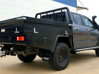 Top Coated Toyota Hilux ute tray. Colour - Kandarah Stealth.