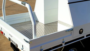 Top Coated Ute Tray & Tool Boxes with a Premium ✨#Shinglebackcoatingsystem. Colour - Ford Ranger White.