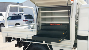 Heavy-duty steel tray, ali boxes, draw units top coated with super tough #Shinglebackcoatingsystem in 058 White and Gurkha Strike Sand.