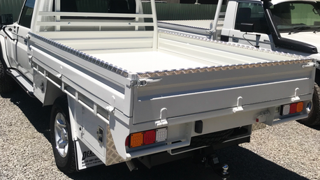 Top Coated 79 Toyota Land Cruiser ute tray. Colour - Toyota White 058.