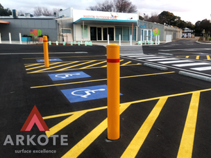 Bollards top coated in #Tuffkote by Arkote coating system.