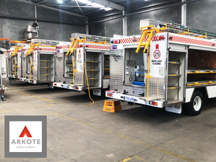 White aluminium panels and yellow components top coated in #ENDURAKOTE by Arkote coating system.