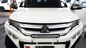 Coated Mitsubishi Triton Bull Bar with a #Shingleback Coating system. Colour - Mits Triton White W32.