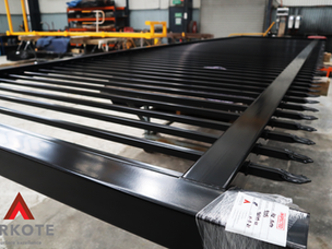 Large sliding gates top coated in quality coating system #Tuffkote by #Arkote.