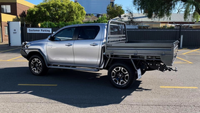 Toyota Hilux Tray, Bull Bar, Scrub Bars, Side steps top coated with Shingleback coating system. ✅ Coating Colour - Gunbarrel Shadow.