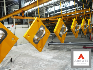 Top coated & masked in the middle - fall protection anchor points with #Endurakote by Arkote coating system.