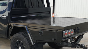 Ute Tray & Toolboxes coated with super tough Shingleback coating sytem. Couting colour - Midnight Black.