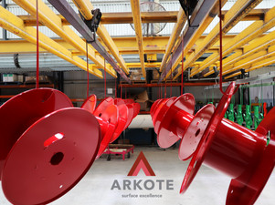 Drum Hose Reels Top Coated with Tuffkote by Arkote Coating System