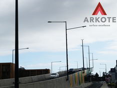 Steel Light Poles for #Darlington upgrade project top coated with a #Tuffkote by #Arkote coating system.