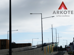 Steel Light Poles top coated in #Tuffkote by Arkote coating system.