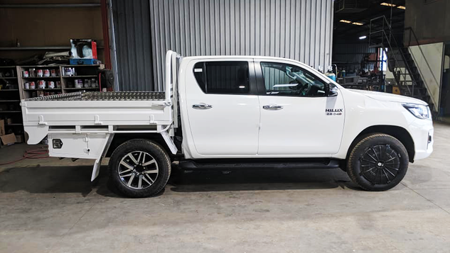 Toyota Hilux Dual Cab Tray Top Coated with a premium #Shinglebackcoatingsystem. Colour - 040 Toyota Hilux White.
