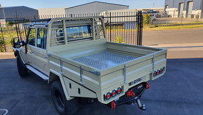 Ready for action 🔥👊. Dual Cab Tray, 2 x Toolboxes and Drawer Front top coated with Shingleback Coating System.