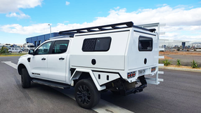 Chassis Mounted Canopy top coated with Super Tough Shingleback Coating System 🔥👊 in Ford Ranger Arctic White Colour.